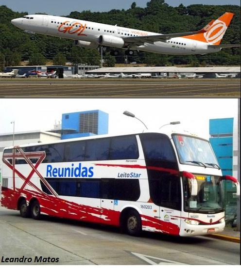 avião X ônibus