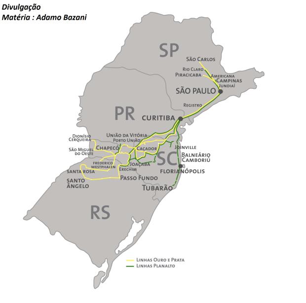 Mapa das linhas operadas pela parceria