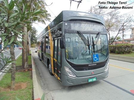 Ônibus elétrico ainda em São Bernardo do Campo, cidade onde fica empresa de tecnologia limpa Eletra